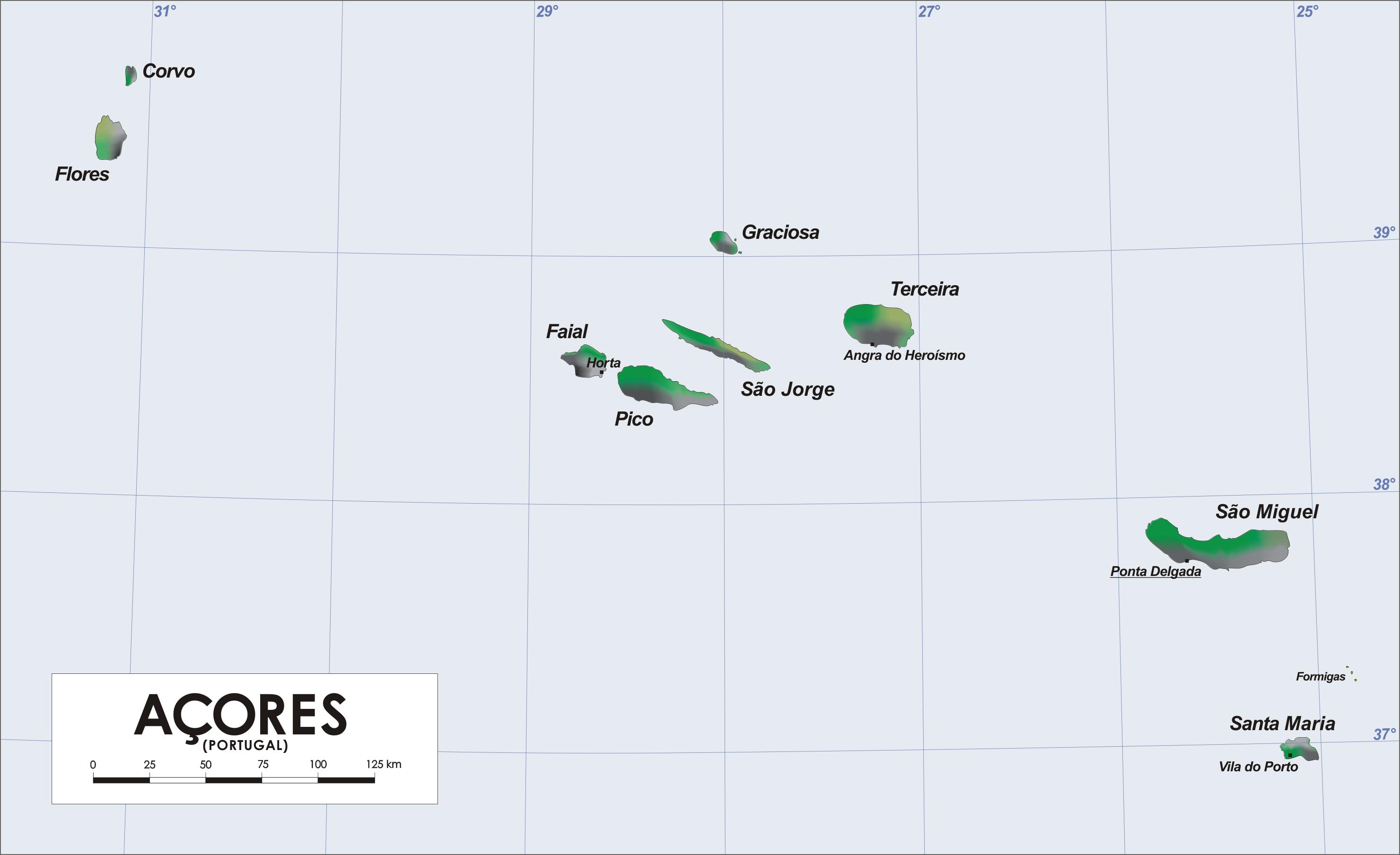 Mapa de las 9 islas Azores