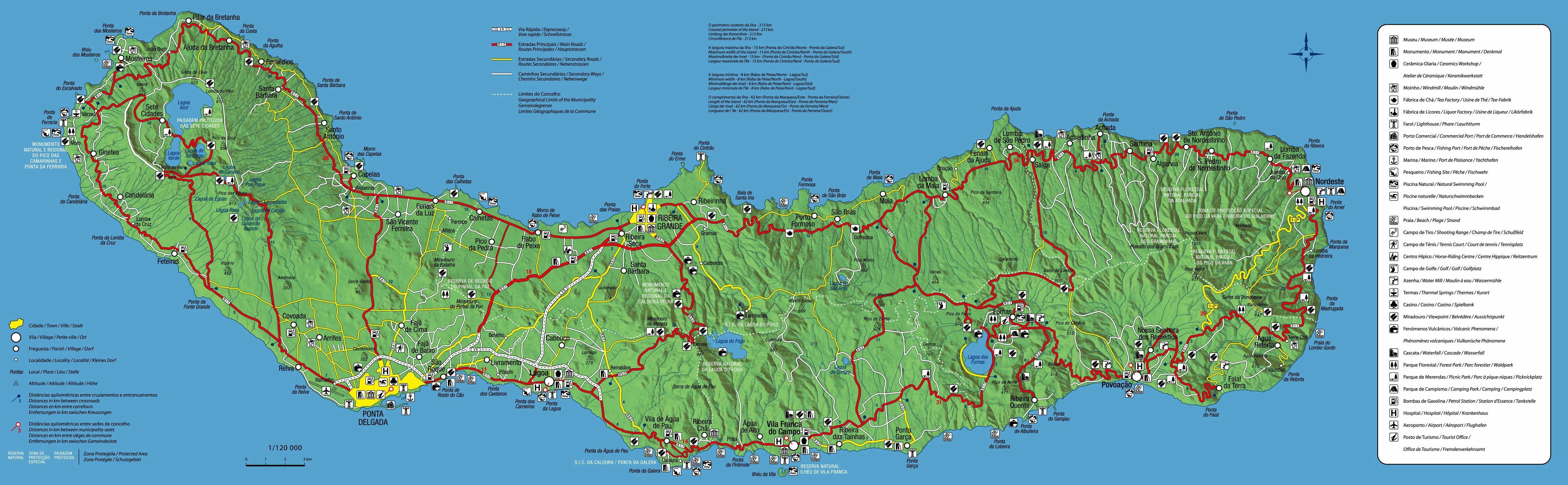 Mapa de la isla de São Miguel