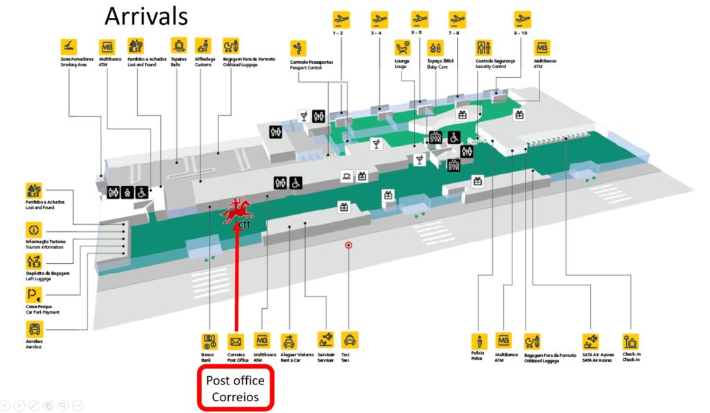 Mapa de las instalaciones del aeropuerto de Ponta Delgada en la isla de Sao Miguel - Azores