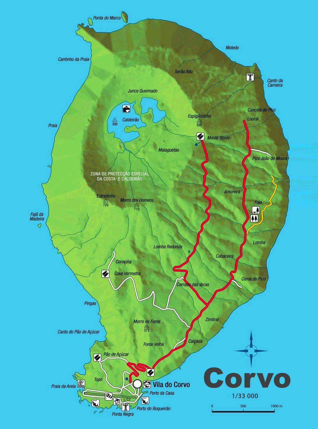 Mapa de la Isla de Corvo en Azores