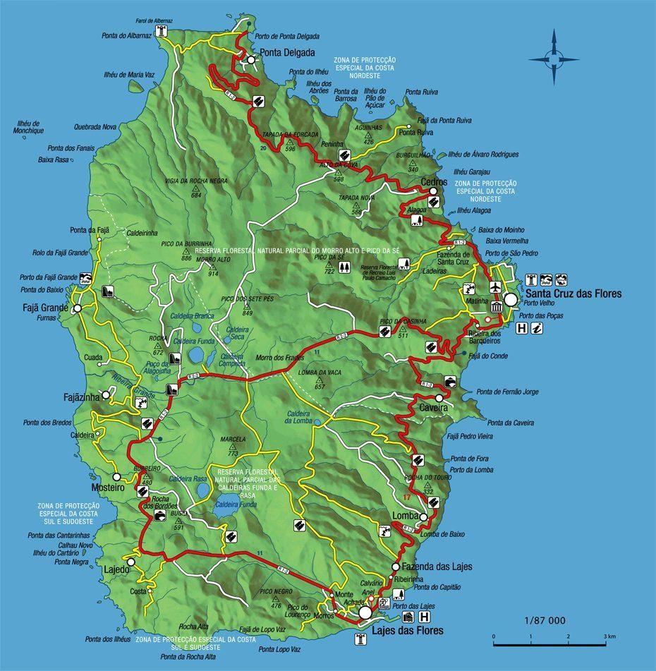 Mapa de la isla de Flores en las Azores
