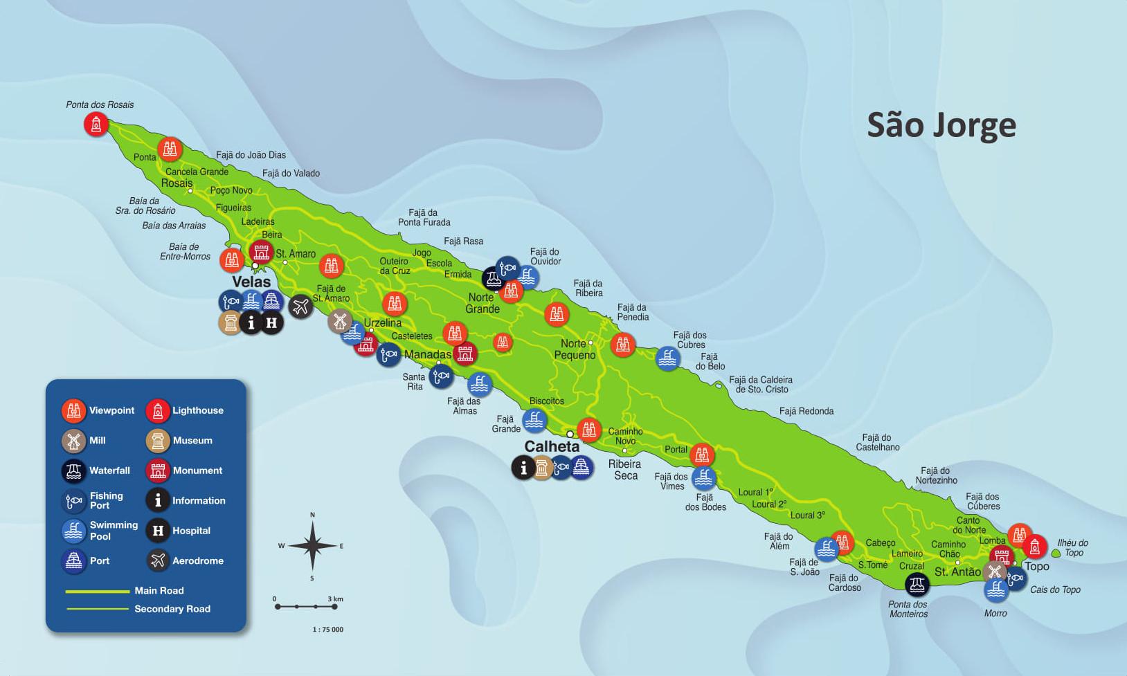Mapa de la Isla de São Jorge