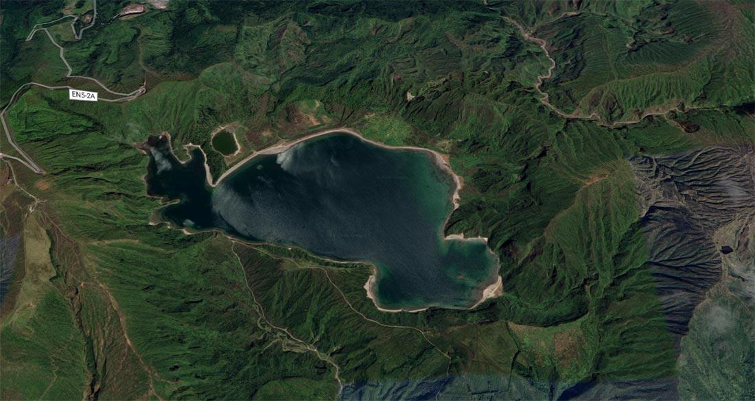 Vista aérea de la Lagoa do Fogo