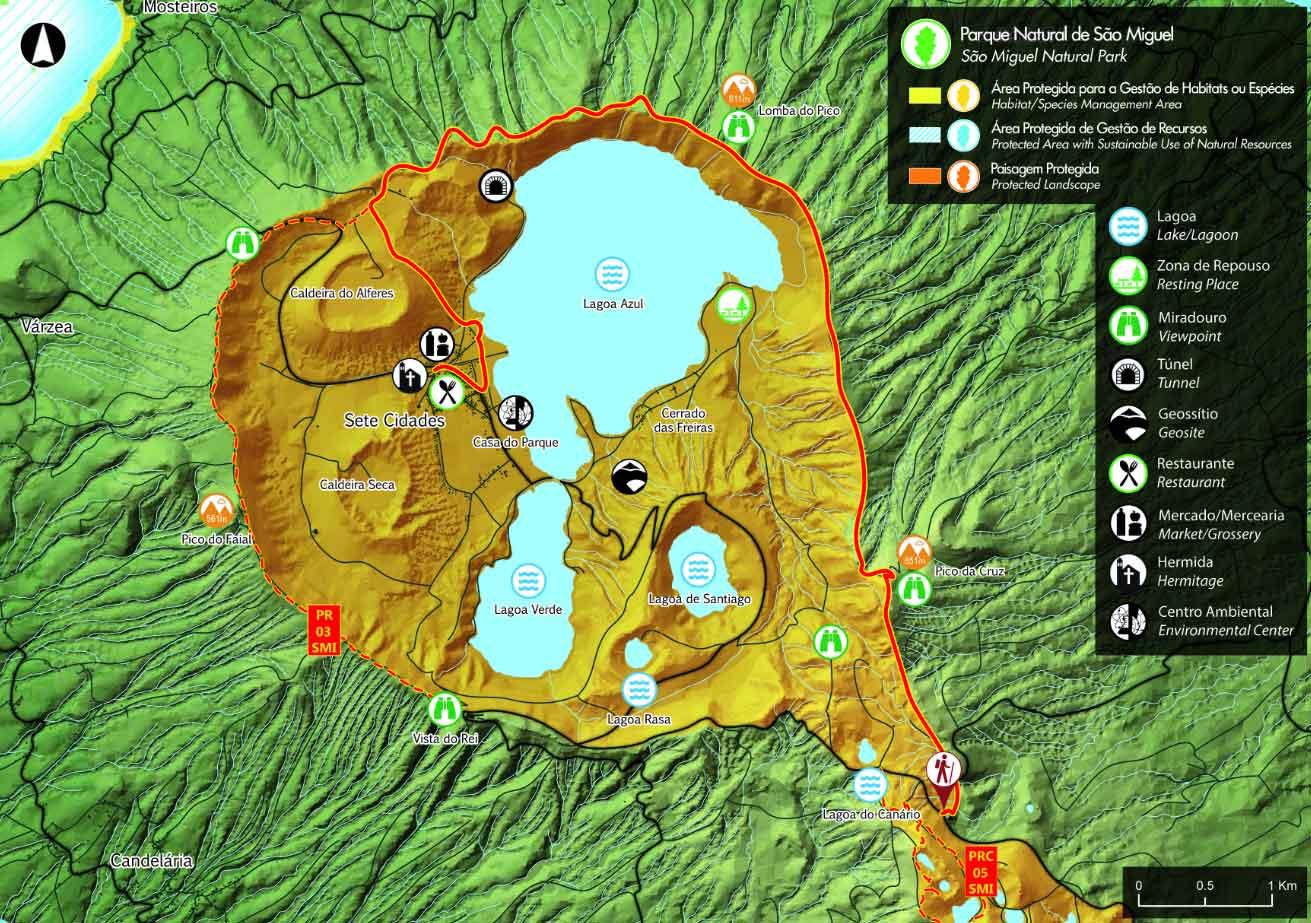 Mapa Ruta Mata do Canário - Sete Cidades - São Miguel PR4SMI