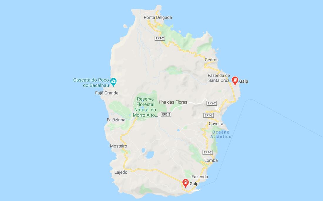 Mapa de Gasolineras en la isla de Flores