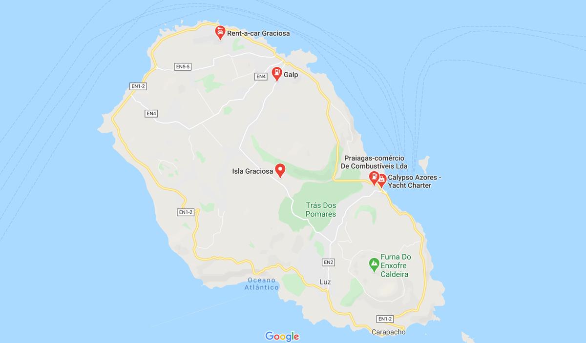 Mapa de gasolineras en la isla Graciosa - Azores