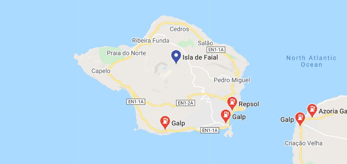 Mapa de Gasolineras en la isla de Faial