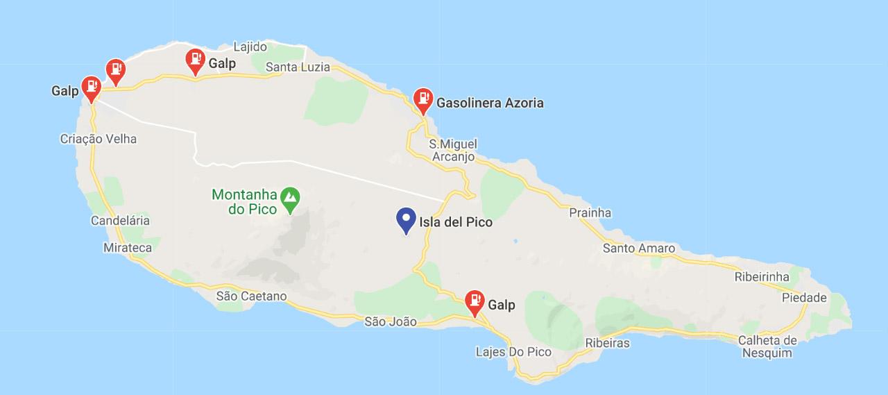 Mapa de gasolineras en la isla de Pico- Azores