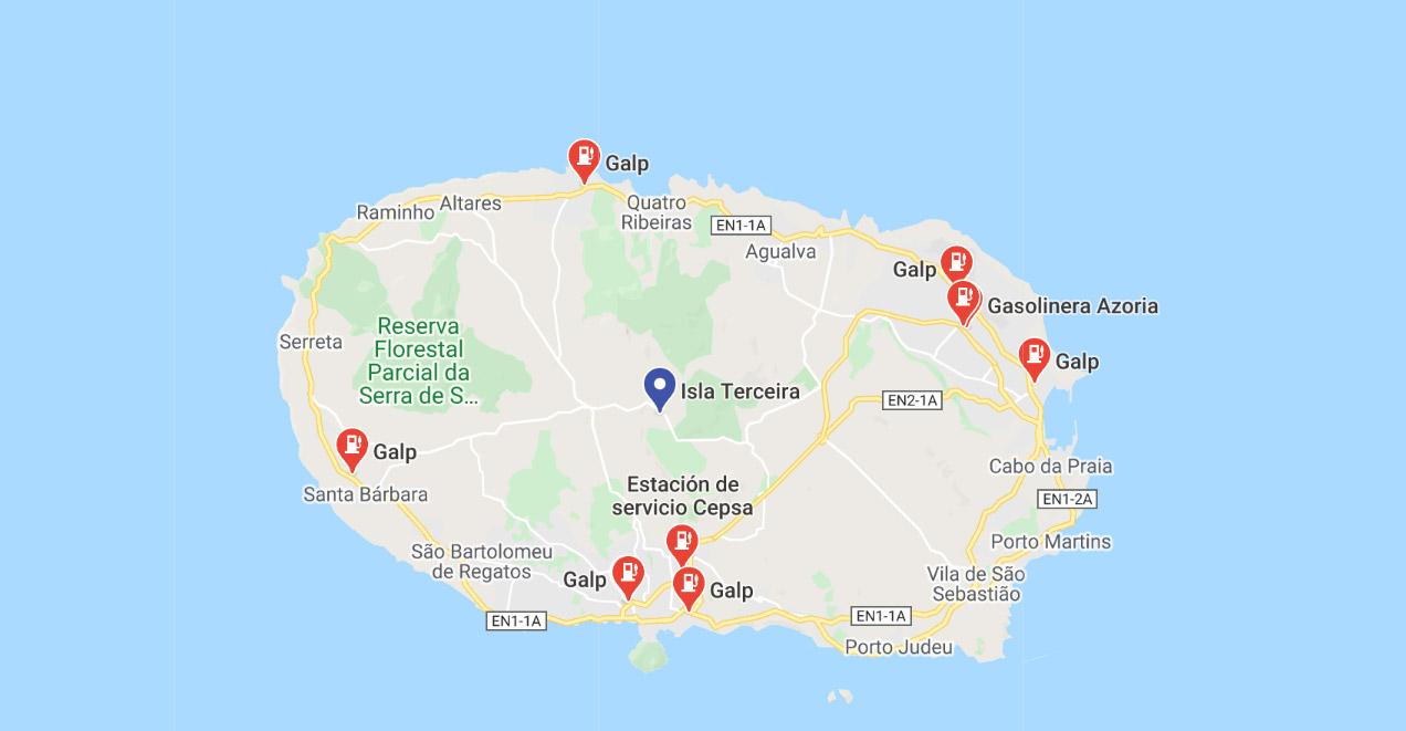 Mapa de Gasolineras en la isla de Terceira