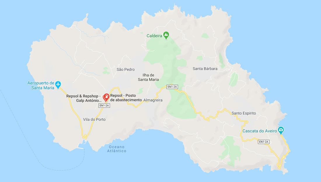 Mapa de gasolineras en la isla de Santa María - Azores