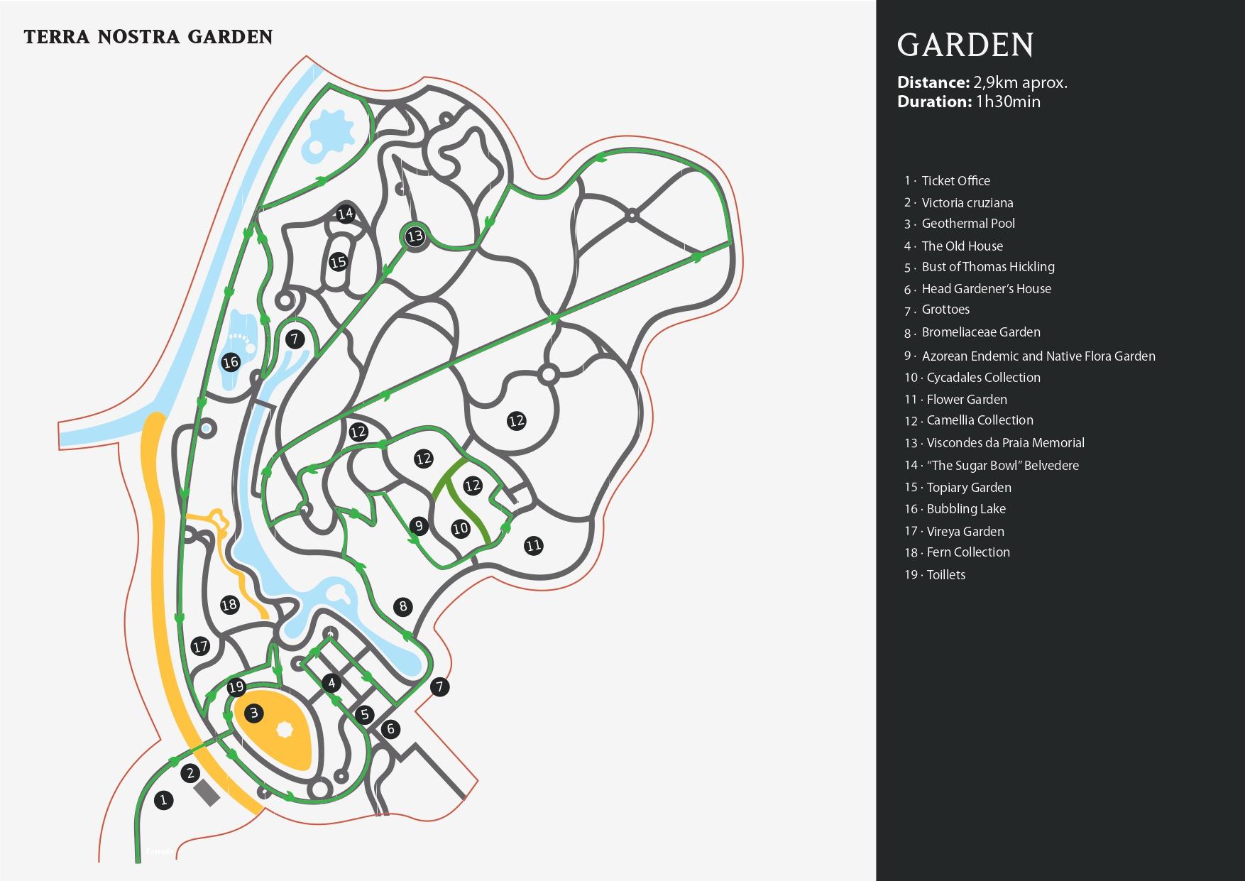 Mapa del Jardín Botánico Terra Nostra